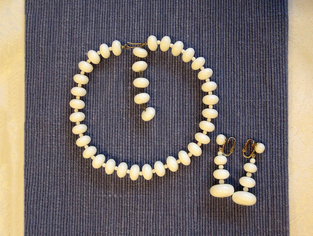 1950s Vogue Demi Parure Necklace Earrings Opaque White Glass Flying Saucer Beads