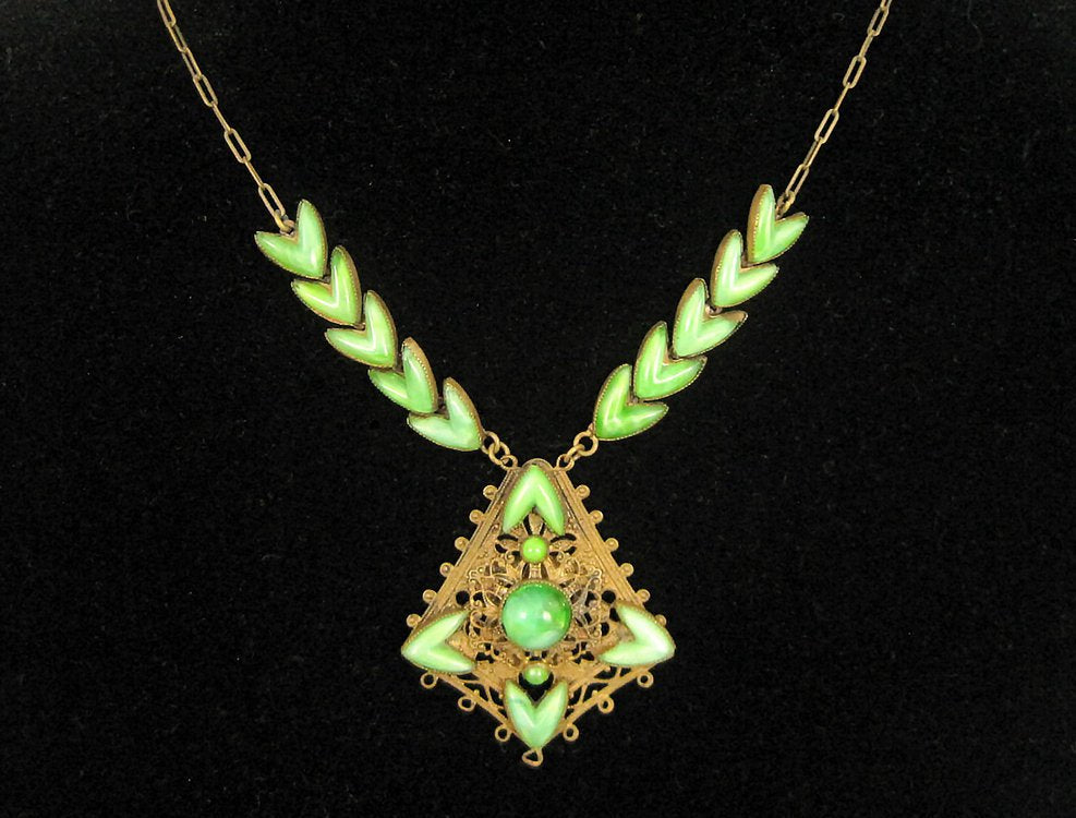 1920s Neiger Style Egyptian Revival Necklace Nile Green Czech Glass Peking Glass
