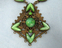 Load image into Gallery viewer, 1920s Neiger Style Egyptian Revival Necklace Nile Green Czech Glass Peking Glass