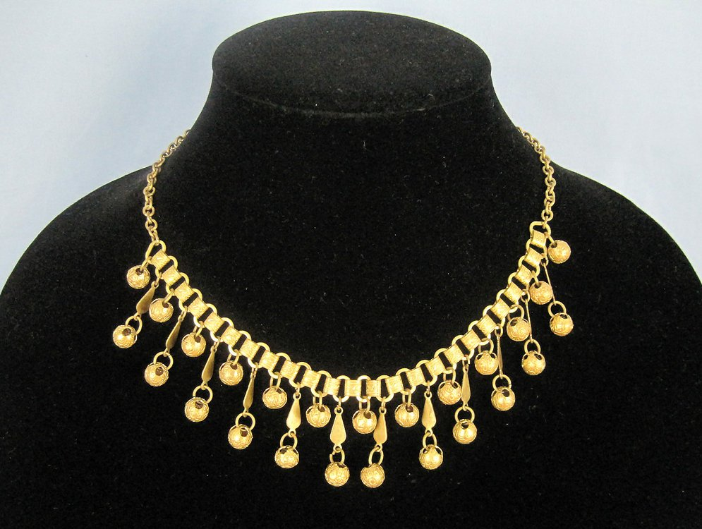 1920s Egyptian Revival Book Chain Necklace Gold Dangle Balls Bib Necklace