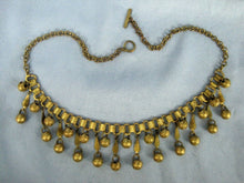 Load image into Gallery viewer, 1920s Egyptian Revival Book Chain Necklace Gold Dangle Balls Bib Necklace