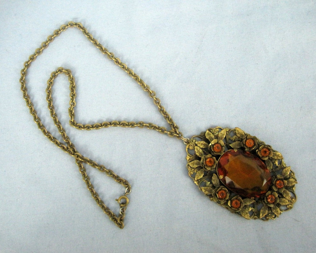 1930s necklace large faceted amber glass pendant filigree brass