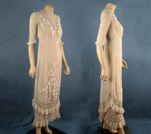 Load image into Gallery viewer, 1910s Edwardian Wedding Gown Openwork Embroidered White Cotton Scalloped