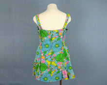 Load image into Gallery viewer, 1960s Bathing Suit Blue Floral One Piece Swimsuit Muriel