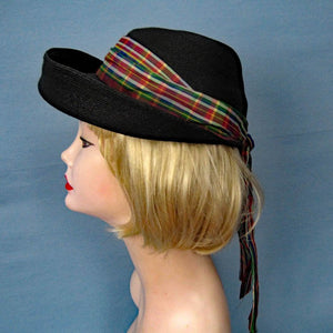 1950s Kepi Hat Martha Gene New York Black Straw 21""