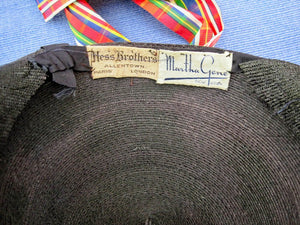 "1950s Kepi Hat 50s Black Straw Hat 21"" Martha Gene New York"