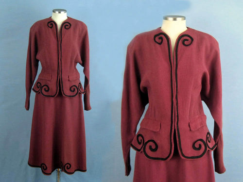 1940s tailored suit raspberry silk rayon suit nipped waist