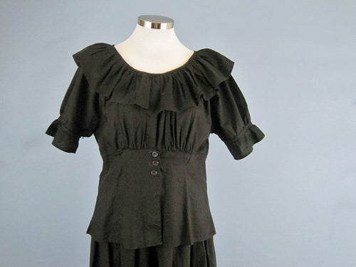1900s Victorian Edwardian Swimsuit Black Cotton 2-Piece Bathing Suit
