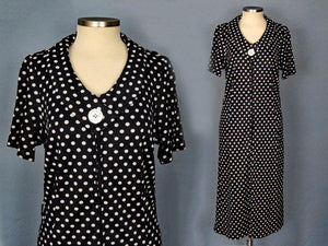 1960s Blue White Polka Dot Dress Zippered Front