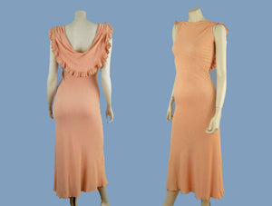 1930s Pink Black Rayon Crepe Old Hollywood Gown Bias Cut