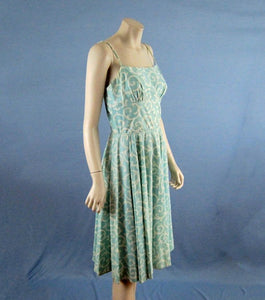 1950s Strappy Swing Dress Aqua Swirls VLV