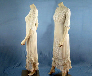 1910s Edwardian Wedding Gown Openwork Embroidered White Cotton Scalloped