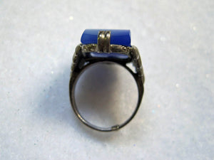1920s Sterling Art Deco Ring Blue Chalcedony