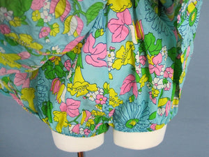 1960s Bathing Suit Blue Floral One Piece Swimsuit Muriel