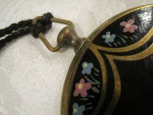 Load image into Gallery viewer, 1930s 40s Enamel Floral Brass Powder Compact Pocket Watch Style Compact