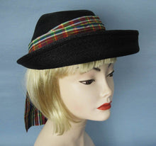 Load image into Gallery viewer, 1950s Kepi Hat 50s Black Straw Hat 21""