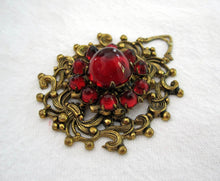 Load image into Gallery viewer, 1920s Art Deco Bohemian Pendant Domed Czech Glass Cabochons
