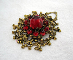 1920s Art Deco Bohemian Pendant Domed Czech Glass Cabochons