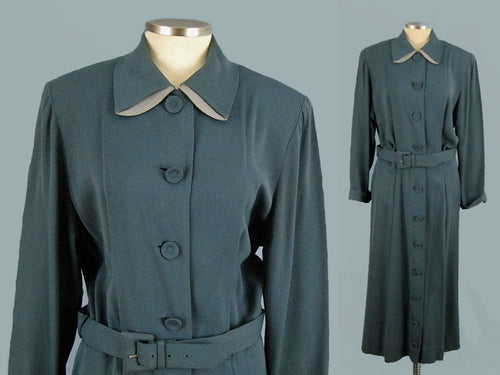 1940s Shirt Dress Slate Blue WWII Era De De Johnson California
