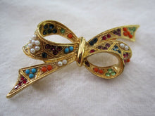 Load image into Gallery viewer, 1950s Rhinestone Bow Brooch Multi-colored Glass Stones