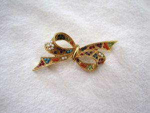 1950s Rhinestone Bow Brooch Multi-colored Glass Stones