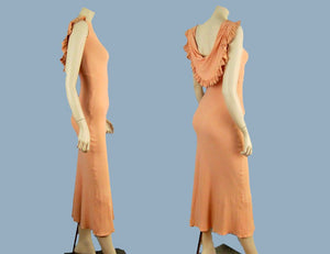 1930s Pink Black Rayon Crepe Gown Bias Cut Old Hollywood