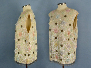 1950s Heavily Beaded Sequins Wool Sweater Jordan Marsh Young Elegants