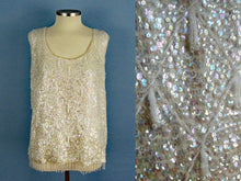Load image into Gallery viewer, 1950s Cream Wool Sweater Sequins Dimensional Beading Sleeveless