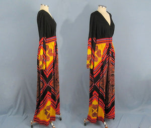 1960s Paisley Hippie Boho Maxi Dress Vibrant Colors Peck and Peck