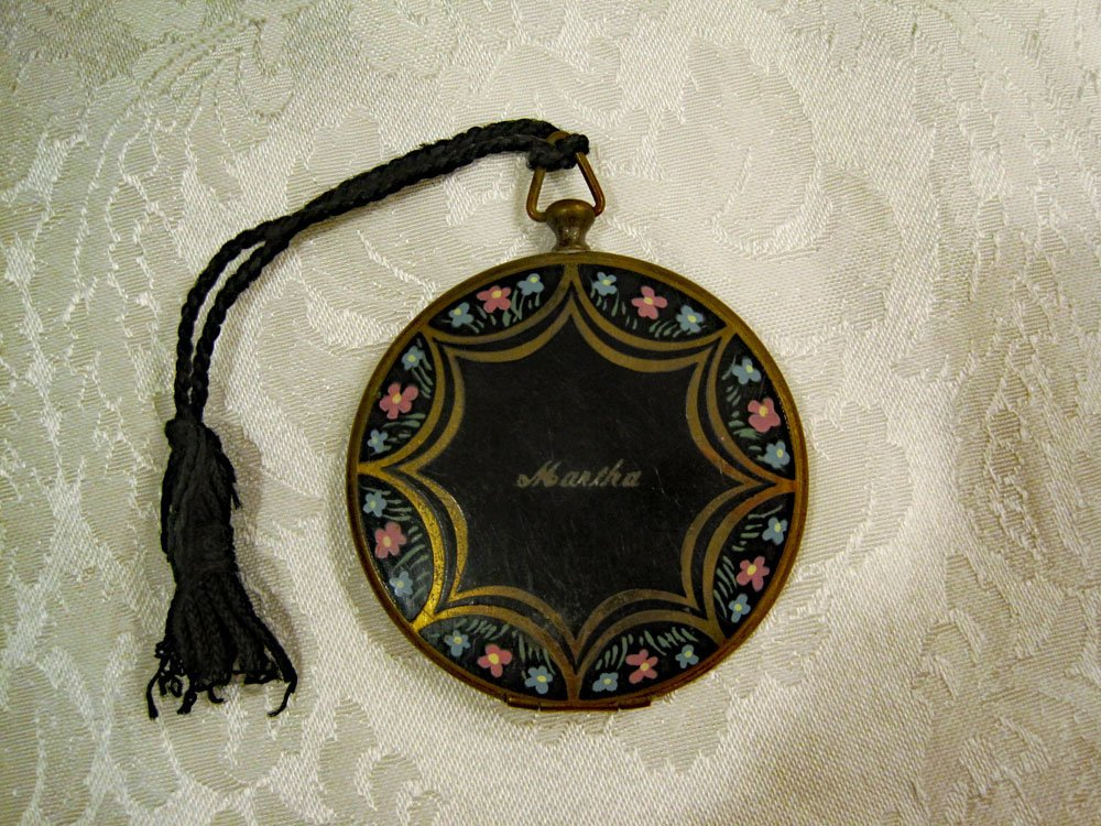 1930s 40s Enamel Floral Brass Powder Compact Pocket Watch Style Compact