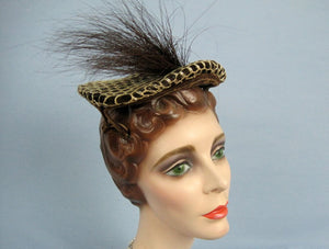 1950s Brown Perch Hat Prongs Lace