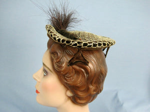 1950s Perch Hat with Prongs Brown Velvet Lace