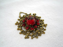 Load image into Gallery viewer, 1920s Art Deco Bohemian Pendant Ruby Czech Glass Cabochons Brass Filigree