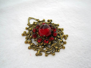1920s Art Deco Bohemian Pendant Ruby Czech Glass Cabochons Brass Filigree