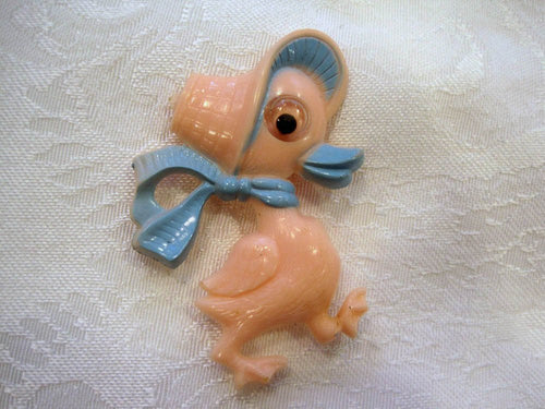 1940s Googly Eye Duck Pin Celluloid Early Plastic