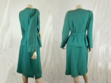Load image into Gallery viewer, 1940s Lilli Ann Aqua Wool Suit Carved Apple Juice Lucite Buckle