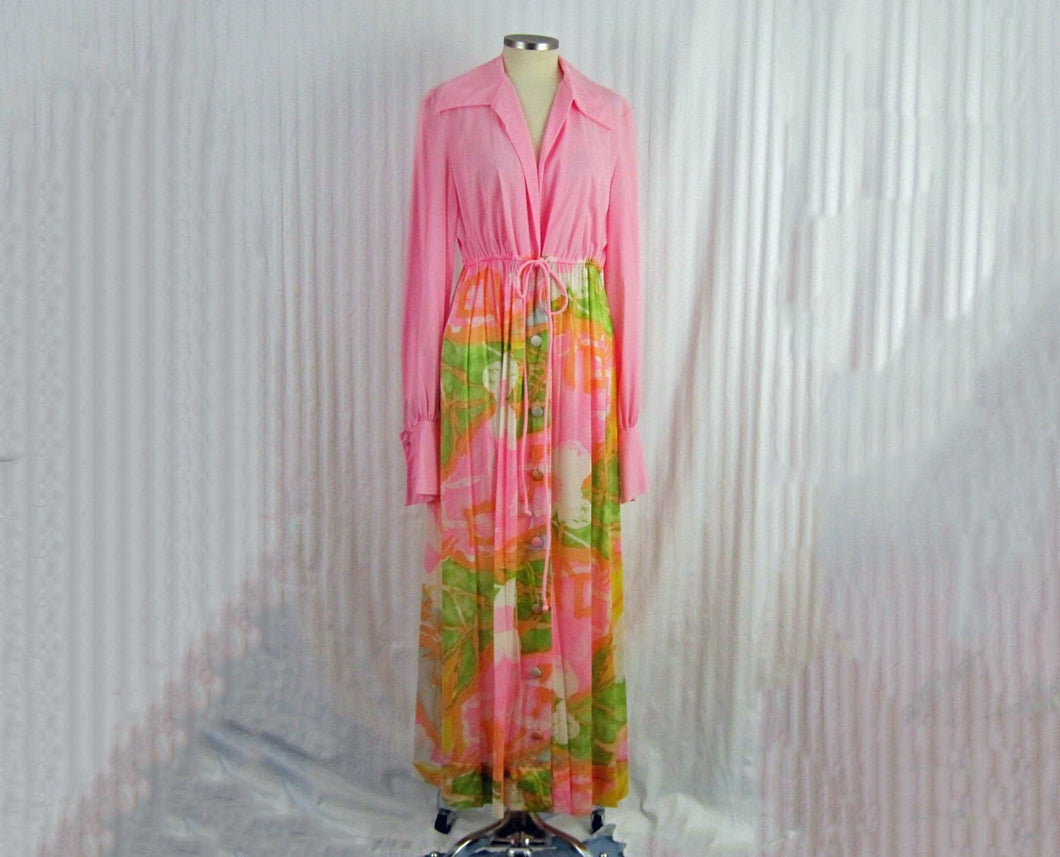 1970s Vanity Fair Robe Pink BOHO Hippie Flower Power Maxi Robe Long Sleeve
