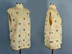 1950s Heavily Beaded Sequins Cream Wool Sweater Jordan Marsh Young Elegants