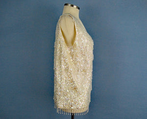 1950s Cream Wool Sweater Sequins Dimensional Beading Sleeveless