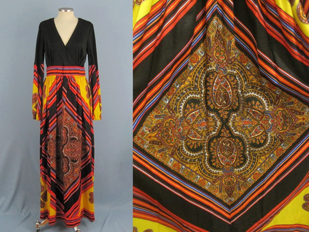 1960s Peck & Peck Hippie Boho Maxi Dress Greenwich Village Paisley