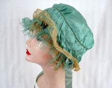 Load image into Gallery viewer, 1920s Green Silk Boudoir Cap Silk Ribbonwork Ostrich Feather