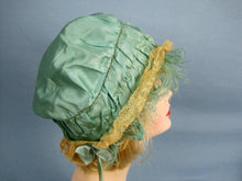 Load image into Gallery viewer, 1920s Green Silk Boudoir Cap