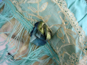 1920s Green Silk Boudoir Cap Silk Ribbonwork Ostrich Feather