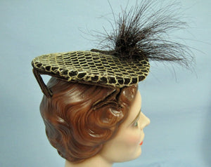 1950s Perch Hat with Prongs Brown Velvet & Lace