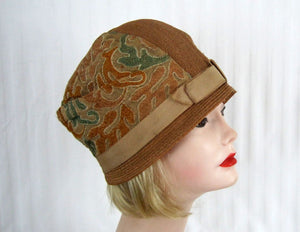 1920s Straw Cloche Hat Embroidered Linen