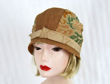 Load image into Gallery viewer, 1920s Straw Cloche Hat Embroidered Linen