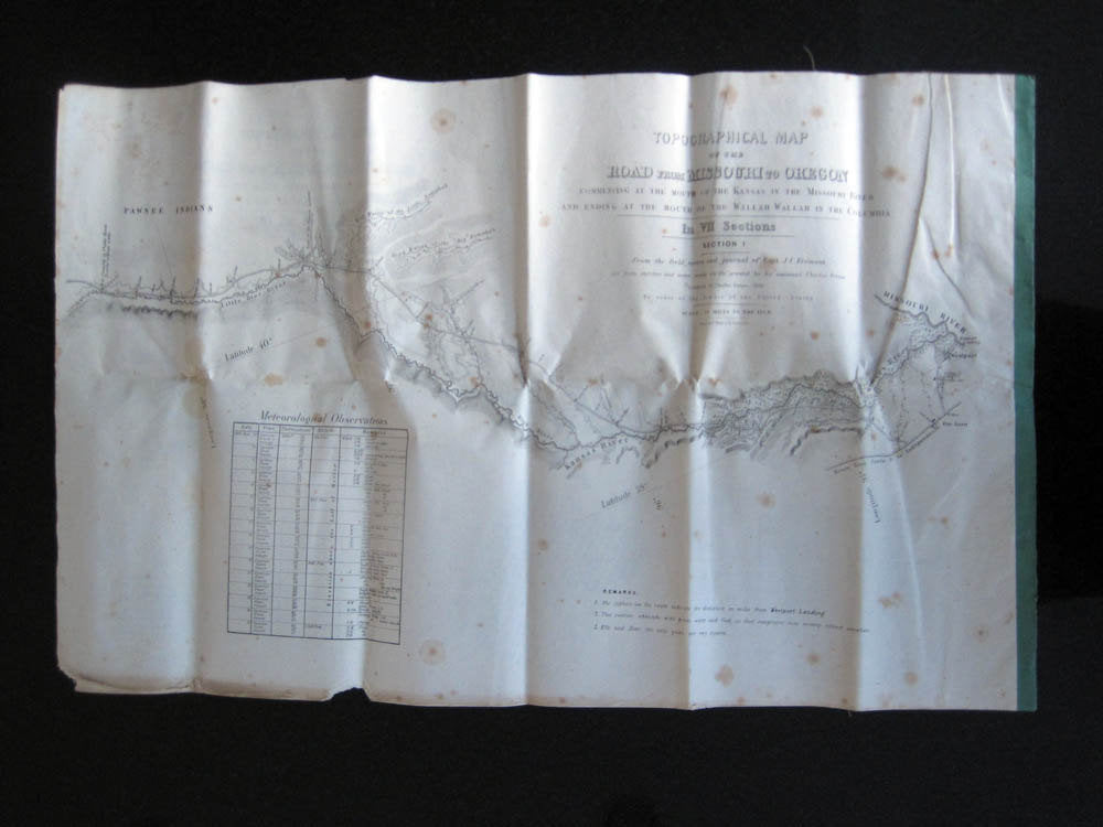 1846 Topographical Map Missouri to Oregon Complete 7 Sections JC Fremont & Charles Preuss