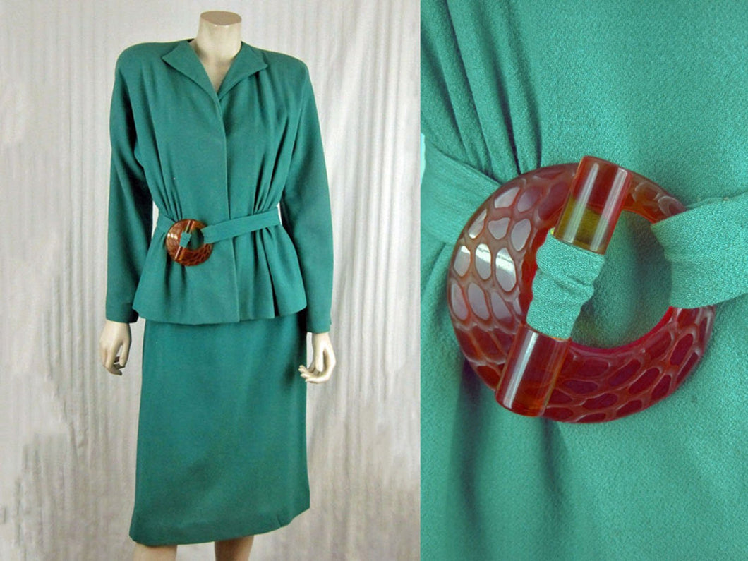 1940s Lilli Ann Aqua Wool Suit Carved Apple Juice Lucite Buckle