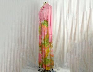 1970s Vanity Fair Robe Pink Flower Power Maxi Robe Long Sleeve