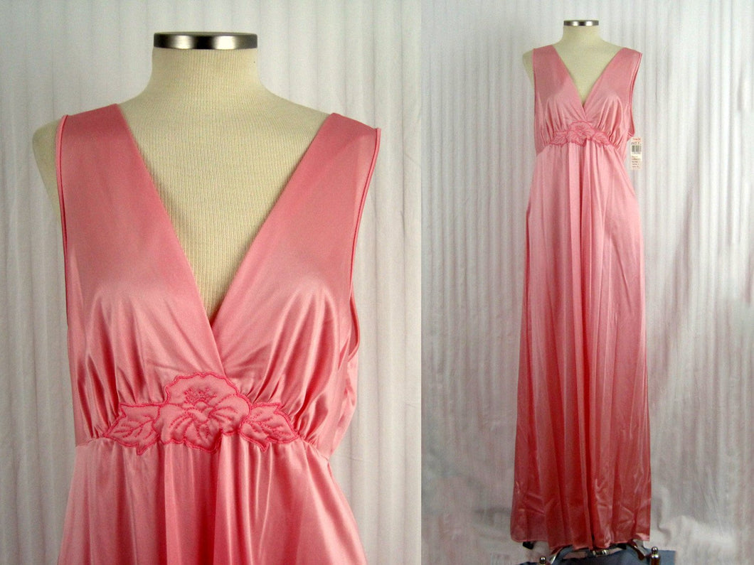 1990s Vanity Fair Pink Satin Nightgown Deadstock